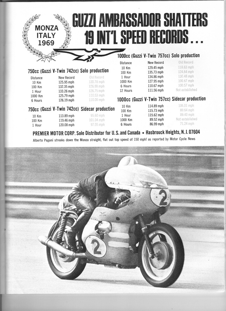 Moto Guzzi advertisement: Guzzi Ambassador Shatters 19 International Speed Records. Originally appeared in the 1970 Daytona 200 souvenir program.
