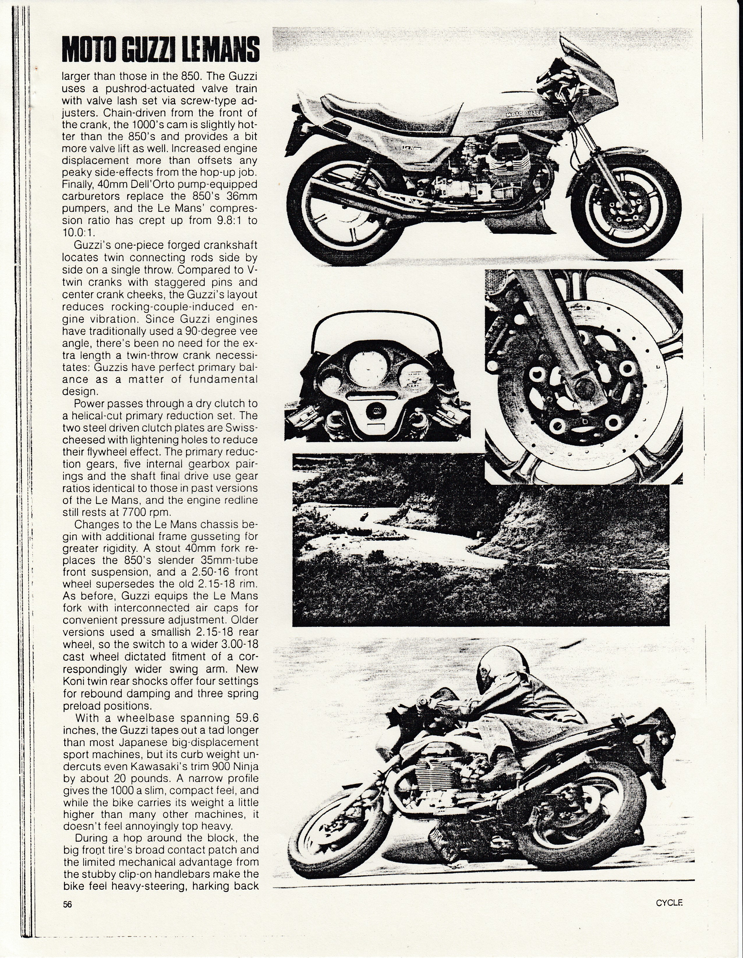 Article - Cycle (1986 March) Moto Guzzi Le Mans 1000 (with a sidebar about Dr. John Wittner)