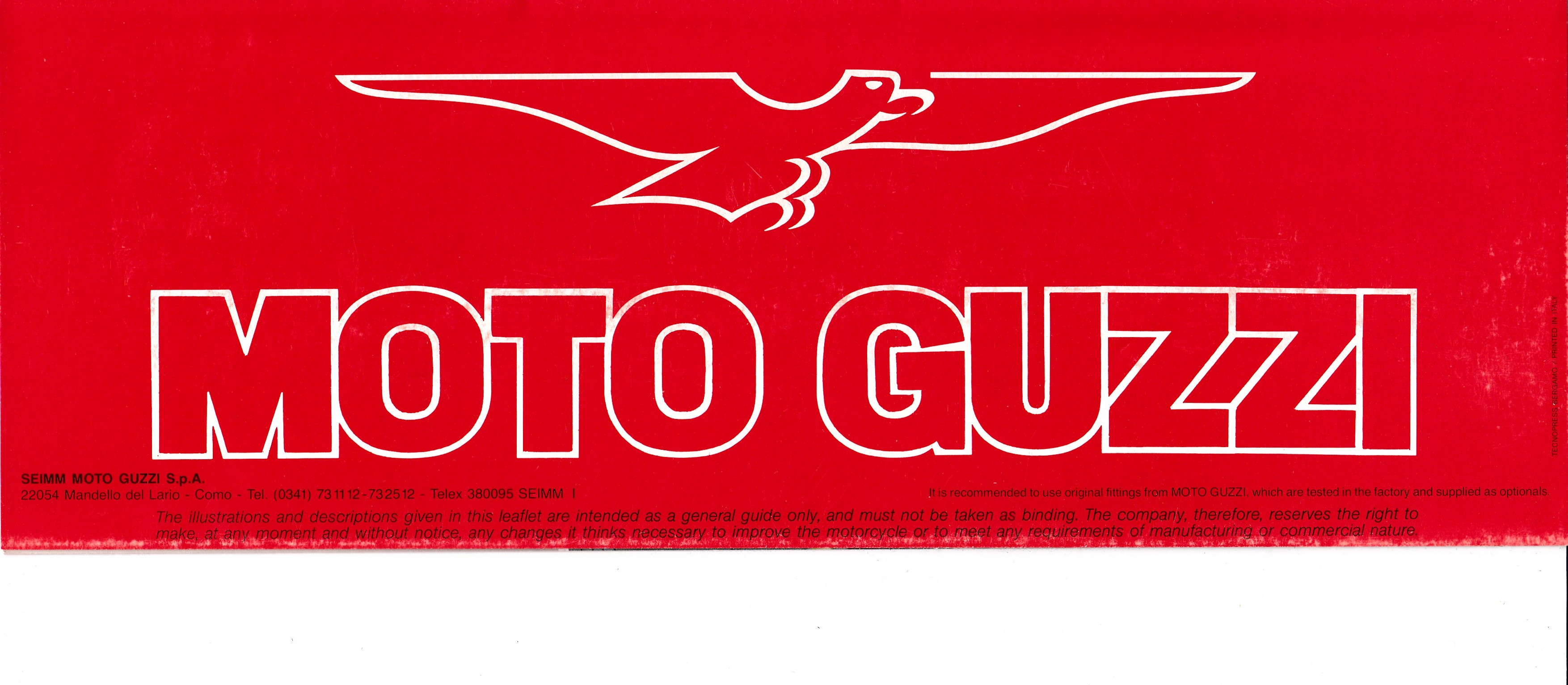Brochure - Moto Guzzi V65 SP (folded style brochure)