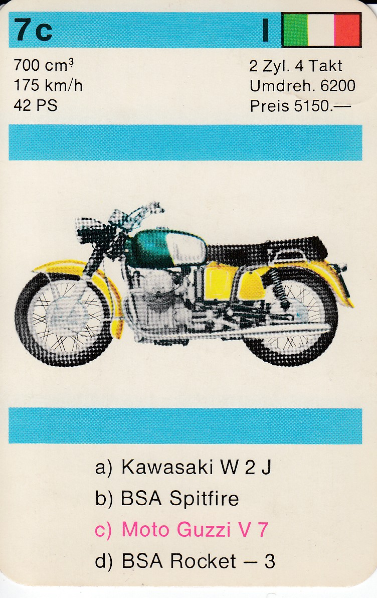 Moto Guzzi playing/trading card: V700Download full-size jpg image
