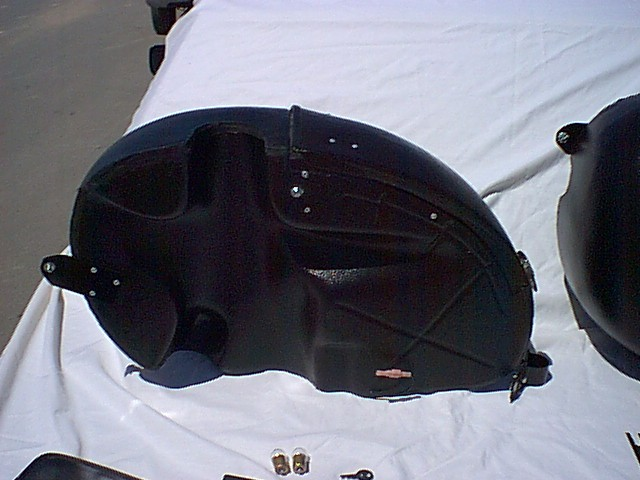 Endoro saddlebags for a BMW. Made by Luxor Marine. Shown here as an example only; shock relief will not fit a Moto Guzzi.