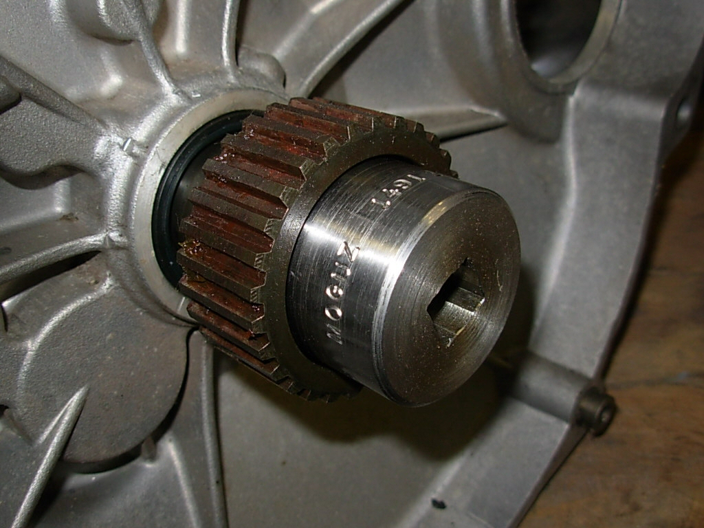 Moto Guzzi special tool for the ring nut securing the clutch input hub on 5 speed transmissions.